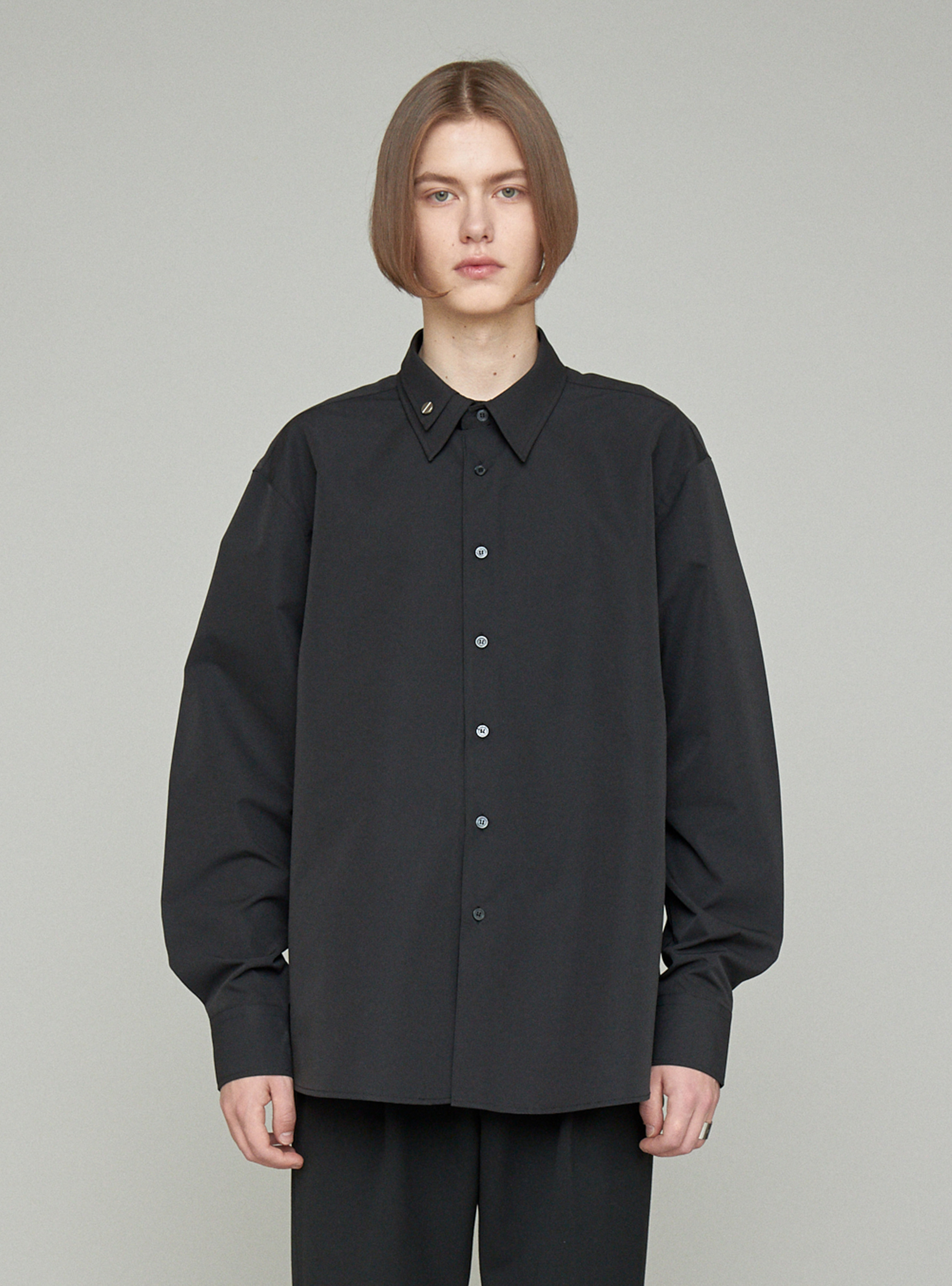 BOLT DOUBLE COLLAR SHIRT BLACK