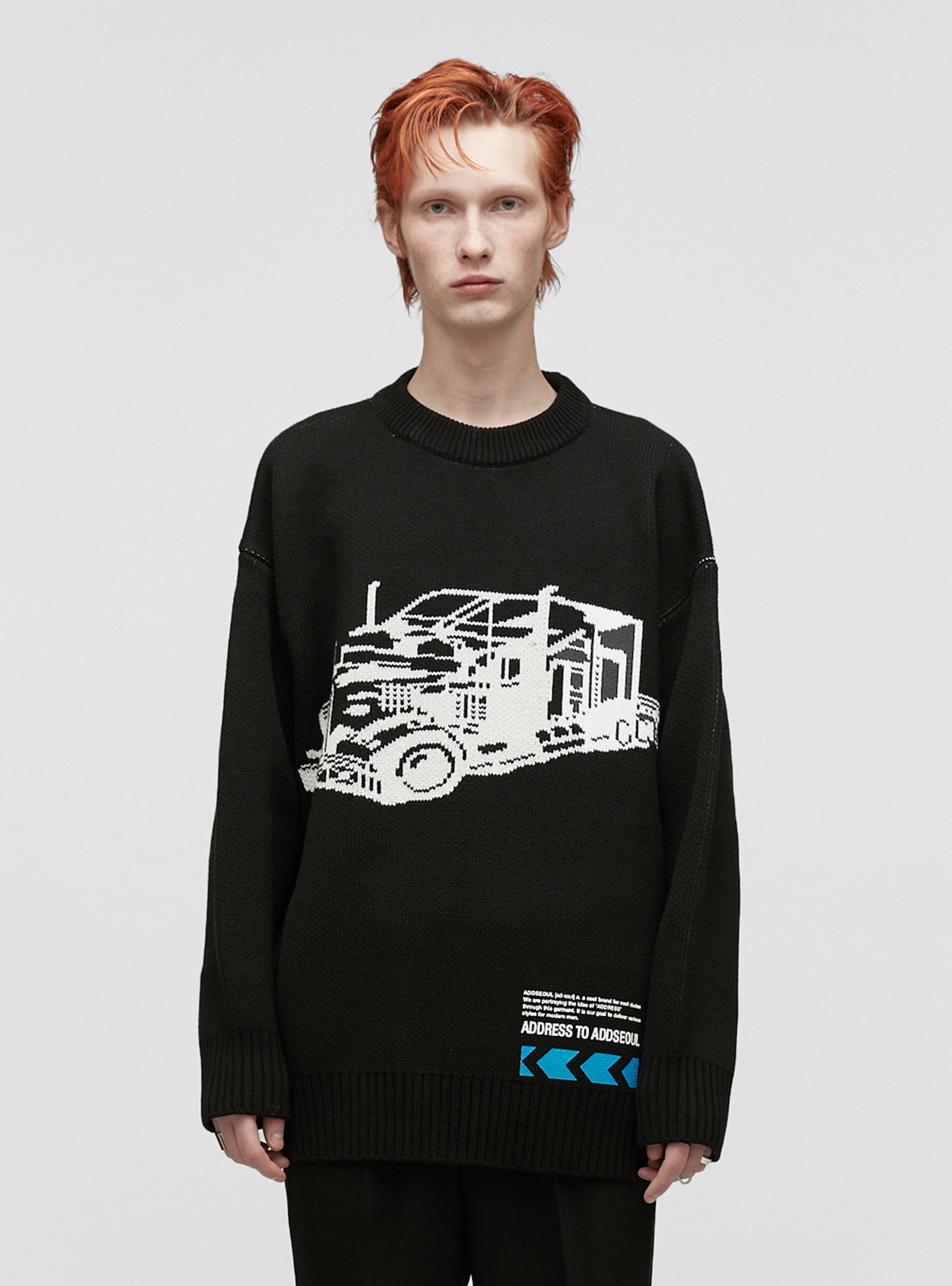 GRAPHIC JACQUARD HEAVY KNIT BLACK