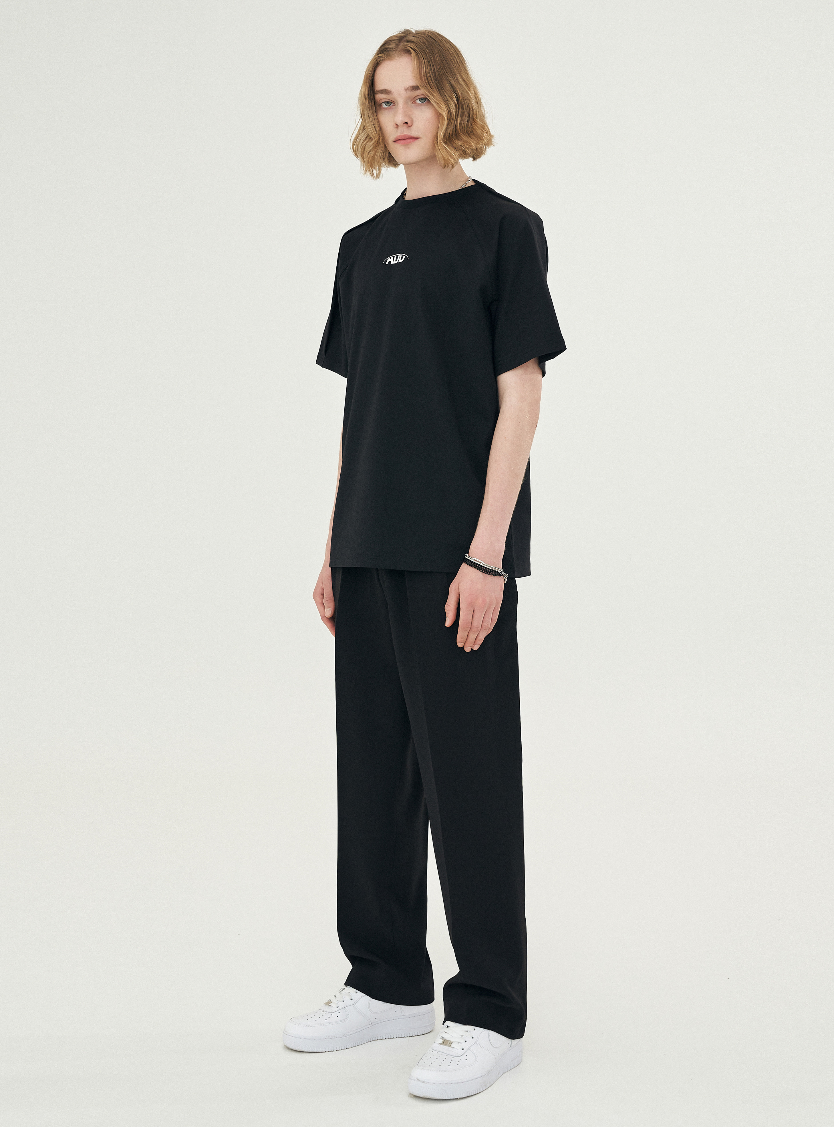 FOLDED CHIC WIDE SLACKS_SS BLACK