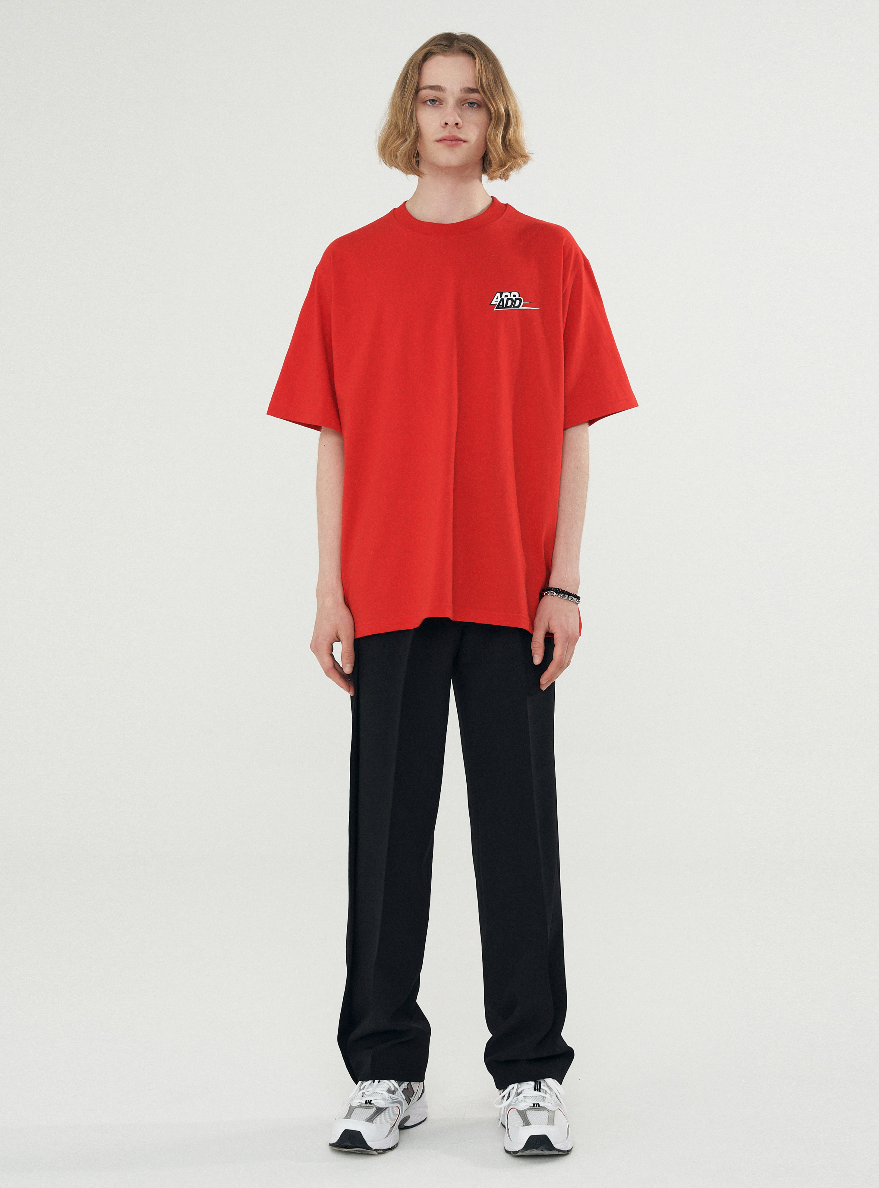 DOUBLE LOGO BACK SLIT TEE RED