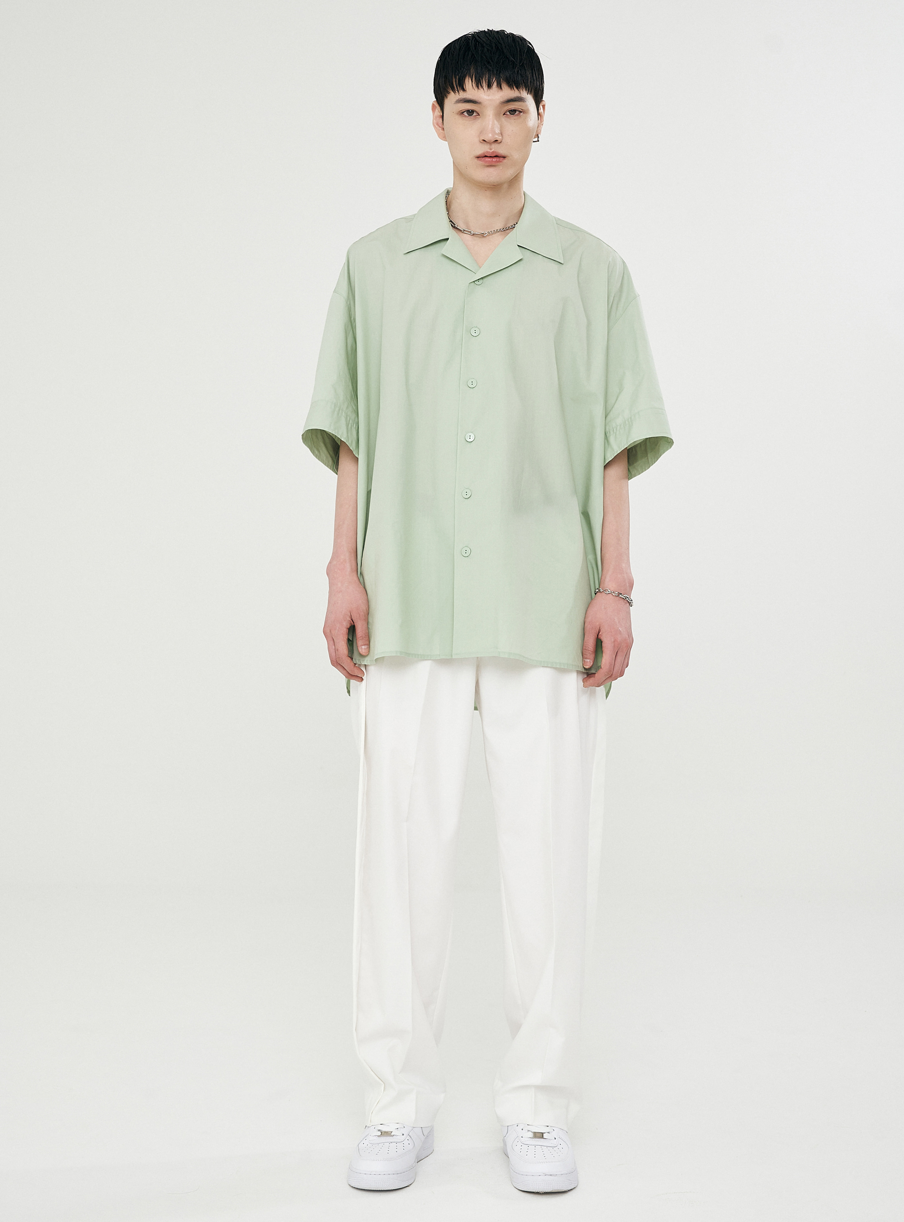 OPEN COLLAR AVANTGARDE SHIRT LIGHT GREEN