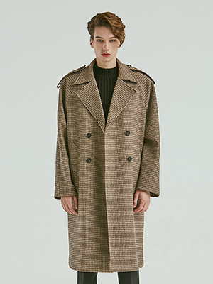 CHECK TRENCH COAT BROWN