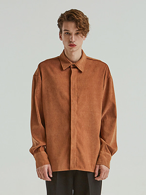 VELVET HIDDEN LONG SHIRTS ORANGEBROWN