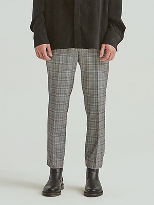 GLEN CHECK LEG SLACKS GREY