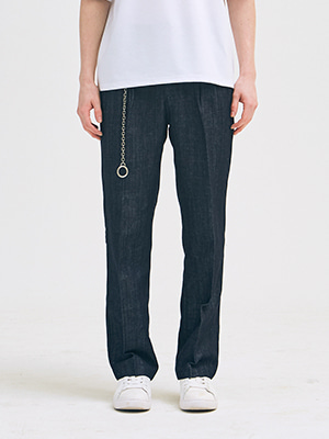PINTUCK LONG WIDE DENIM BLUE