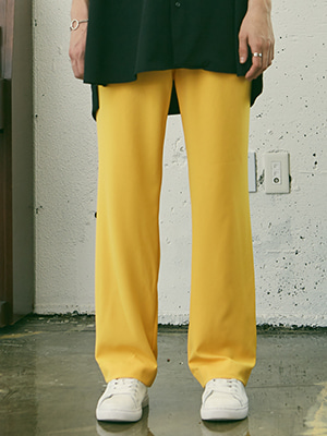 BANDING STITCH LONG WIDE PANTS YELLOW