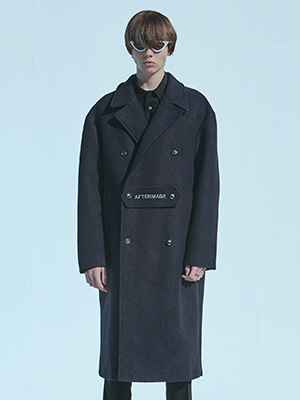 NEOPRENE DOUBLE WOOL COAT NAVY
