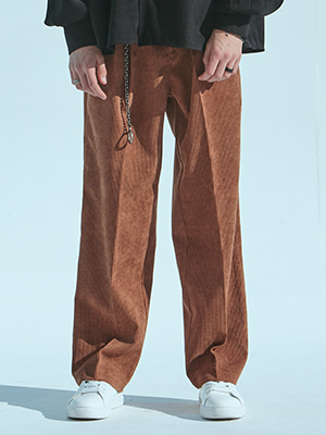 CORDUROY WIDE PANTS BROWN