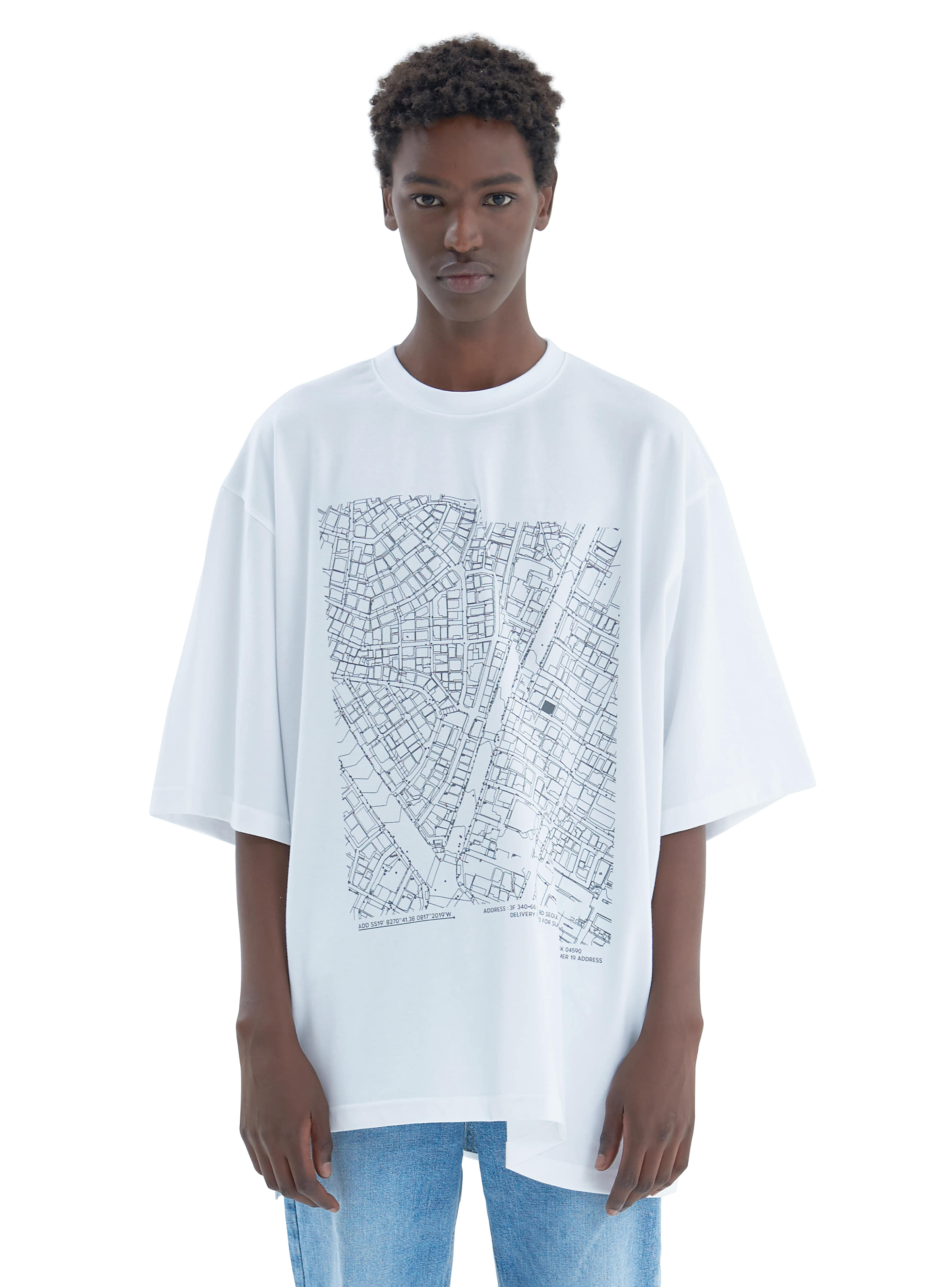 FOLDED MAP TEE WHITE