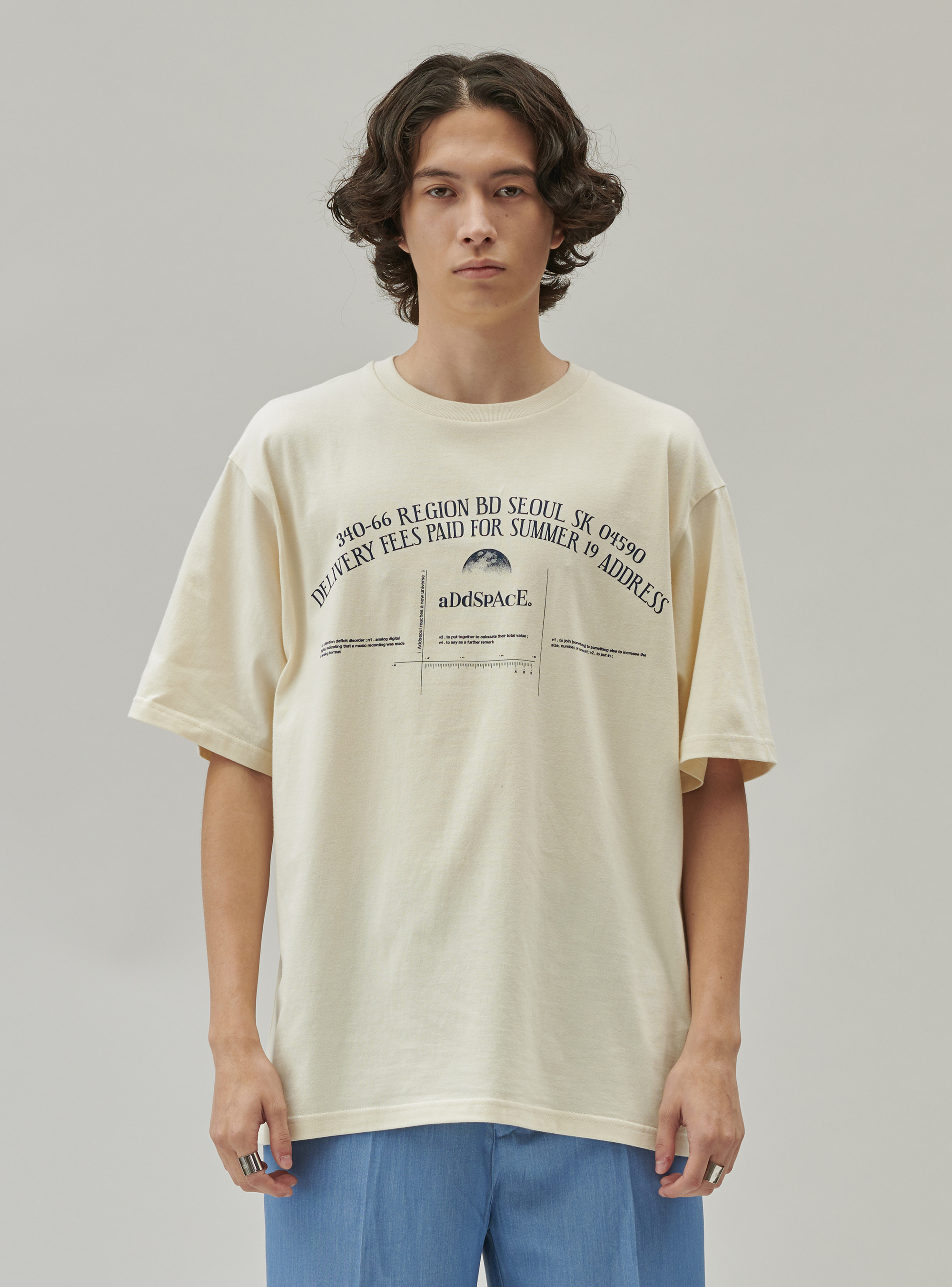ADD SPACE LETTERING TEE CREAM