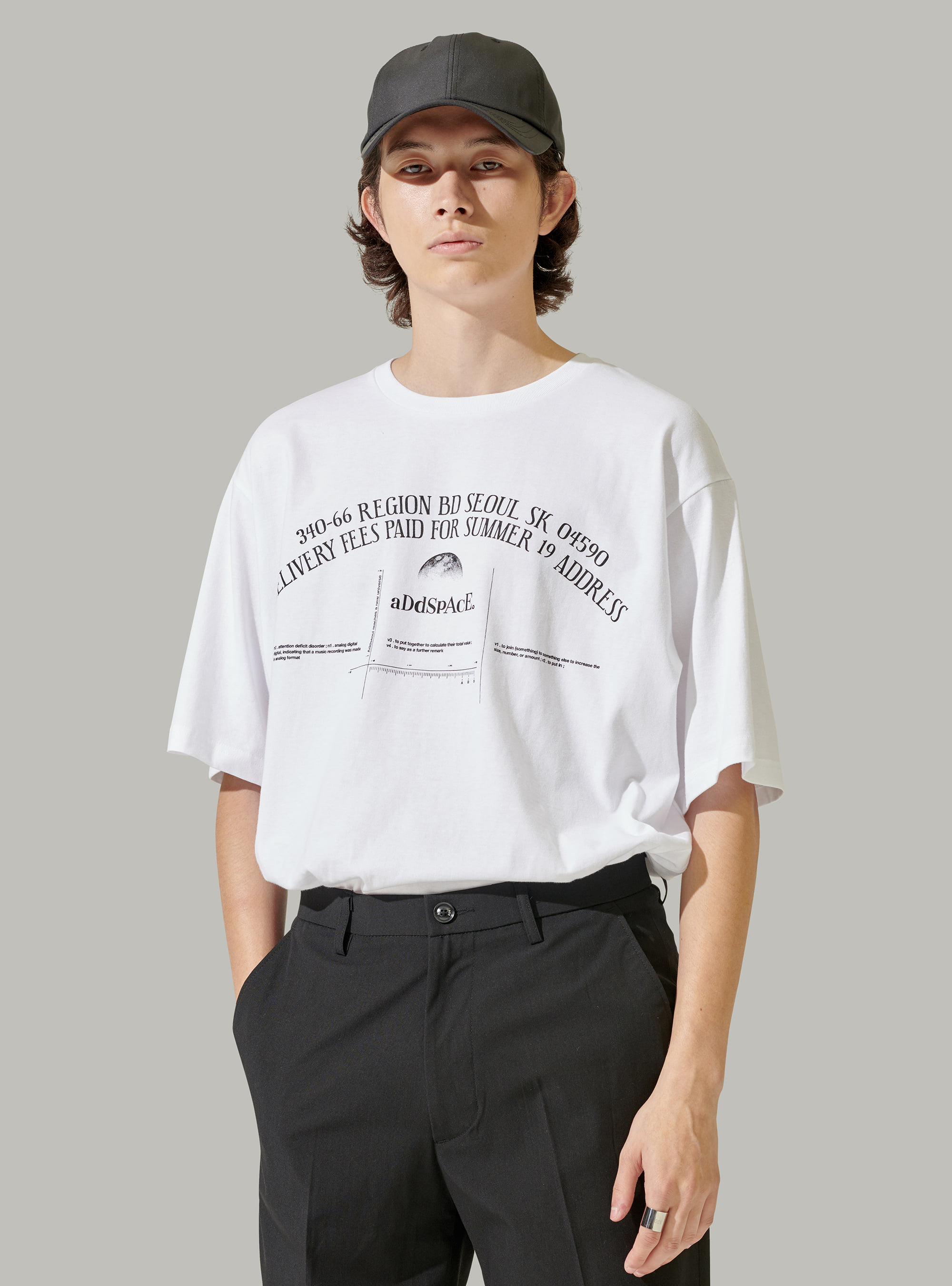 ADD SPACE LETTERING TEE WHITE