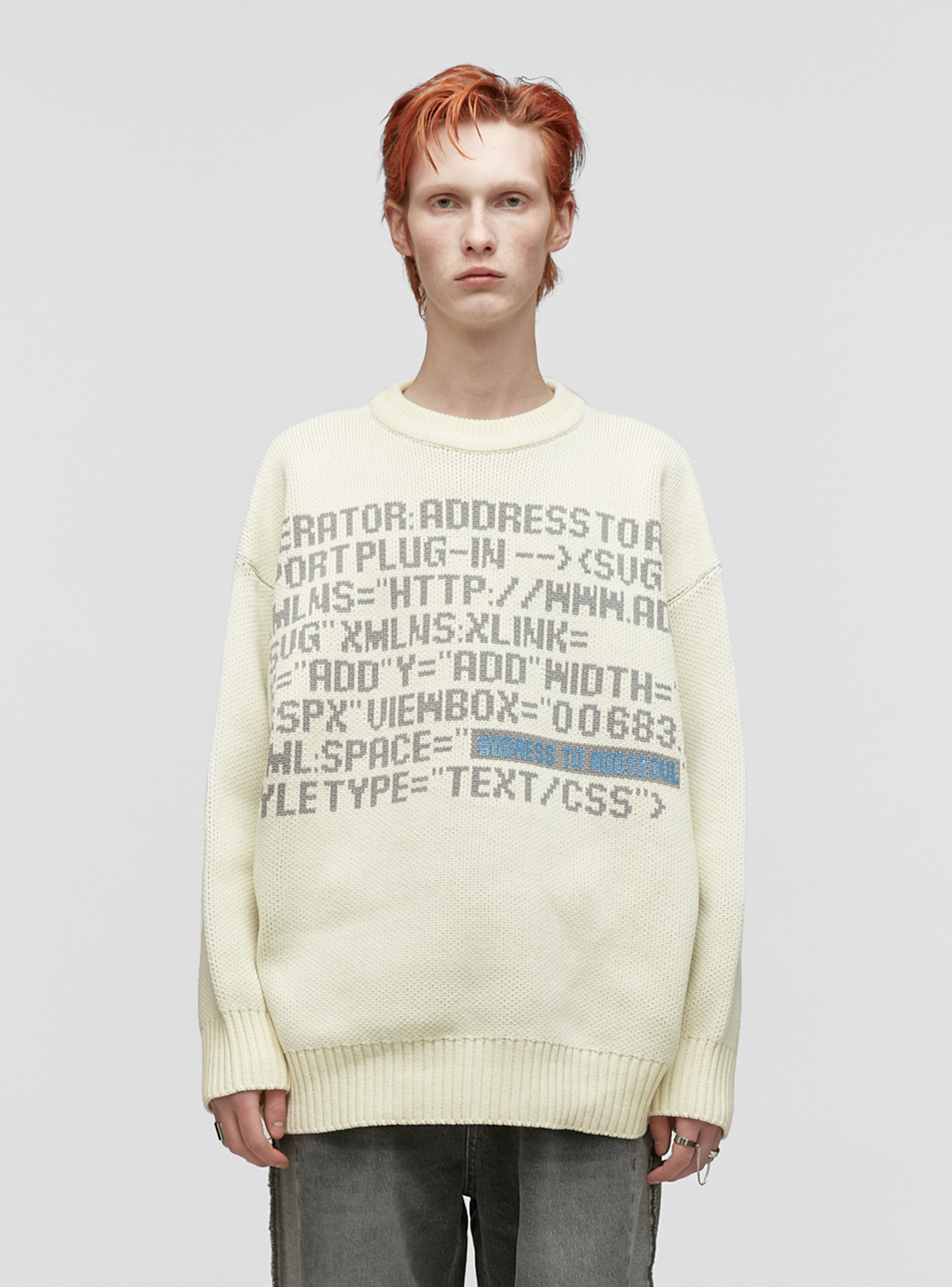 LETTERING JACQUARD HEAVY KNIT IVORY