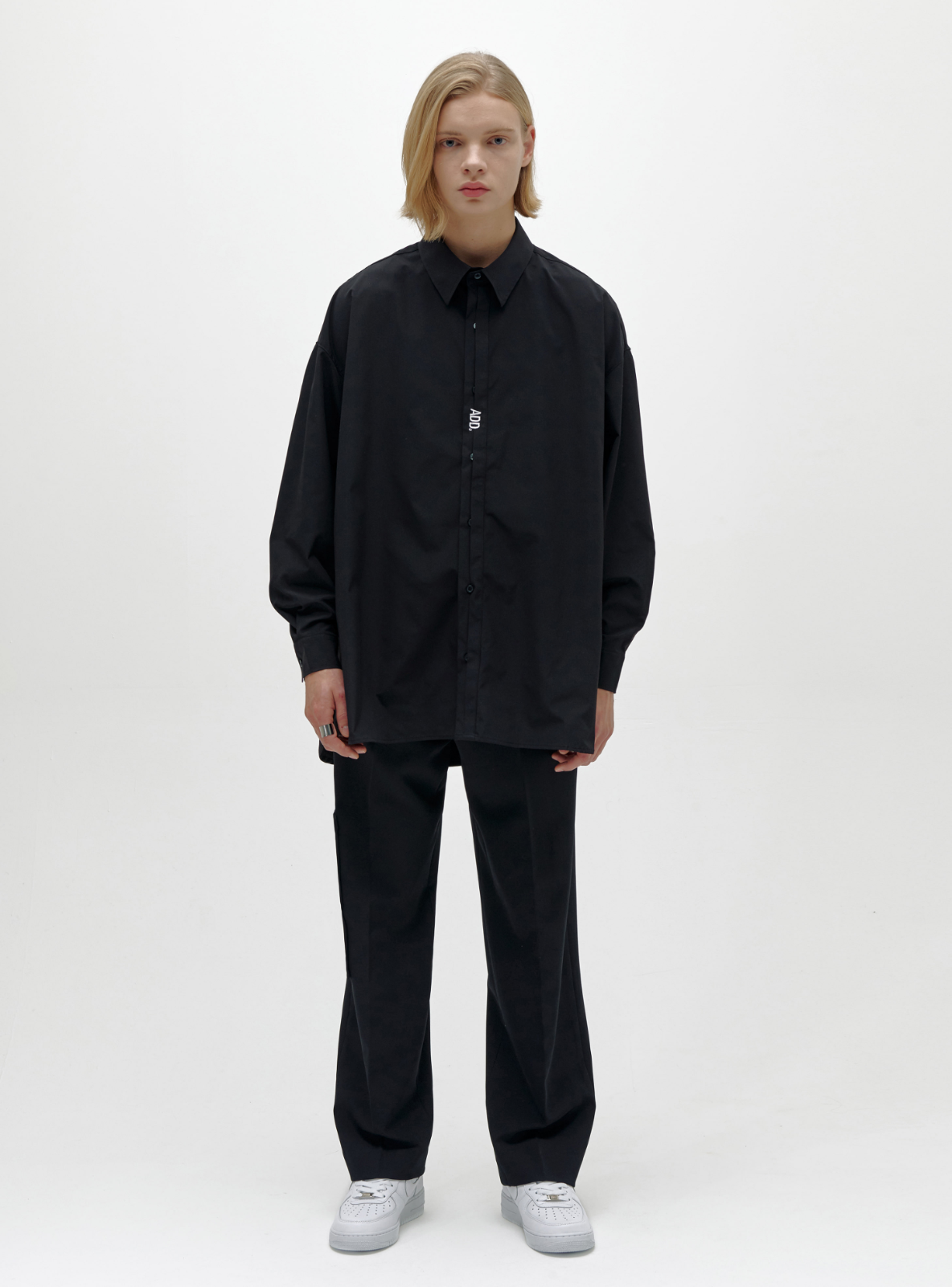 자체브랜드 - FOLDED PLACKET SHIRT BLACK