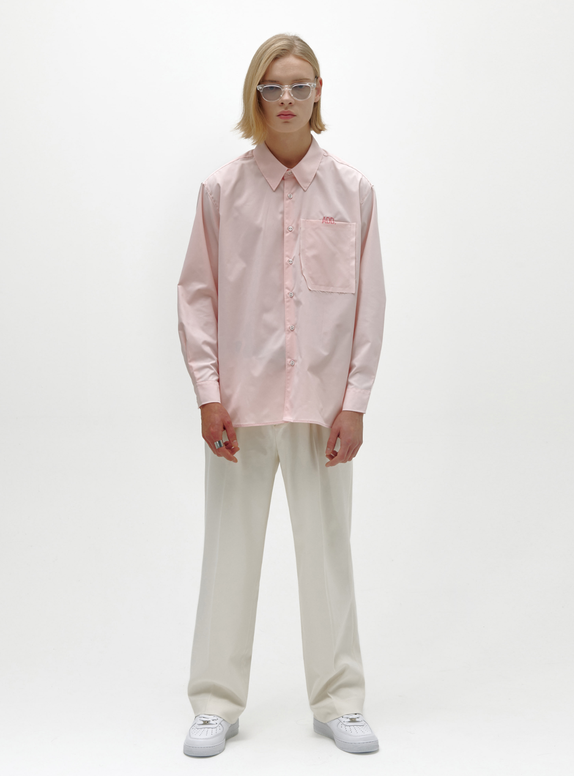 RAW EDGE POCKET SHIRT POWDER PINK