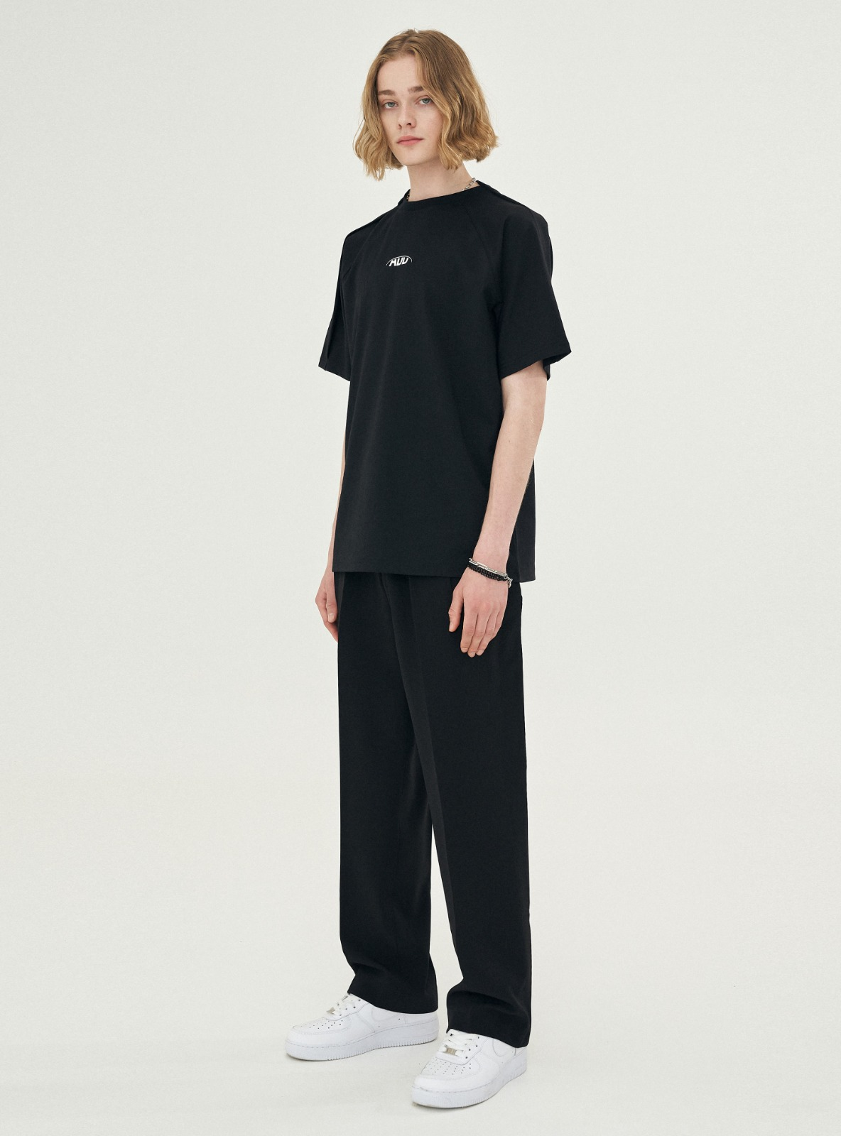 자체브랜드 - FOLDED CHIC WIDE SLACKS_SS BLACK