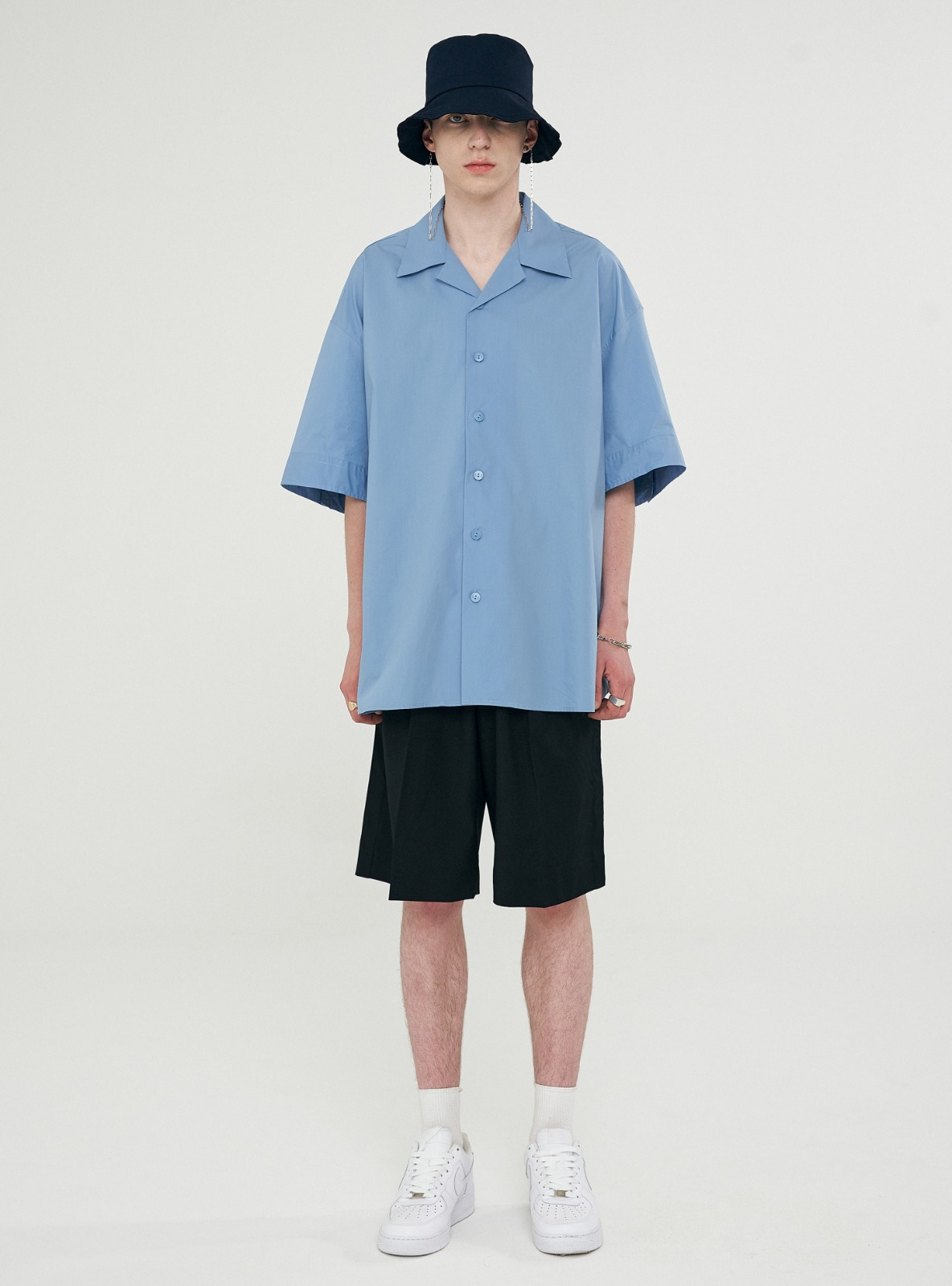 OPEN COLLAR AVANTGARDE SHIRT LIGHT BLUE