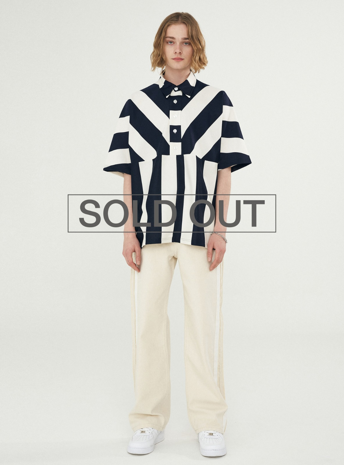 BOLD STRIPE BOX PATTERN PIQUE TEE NAVY