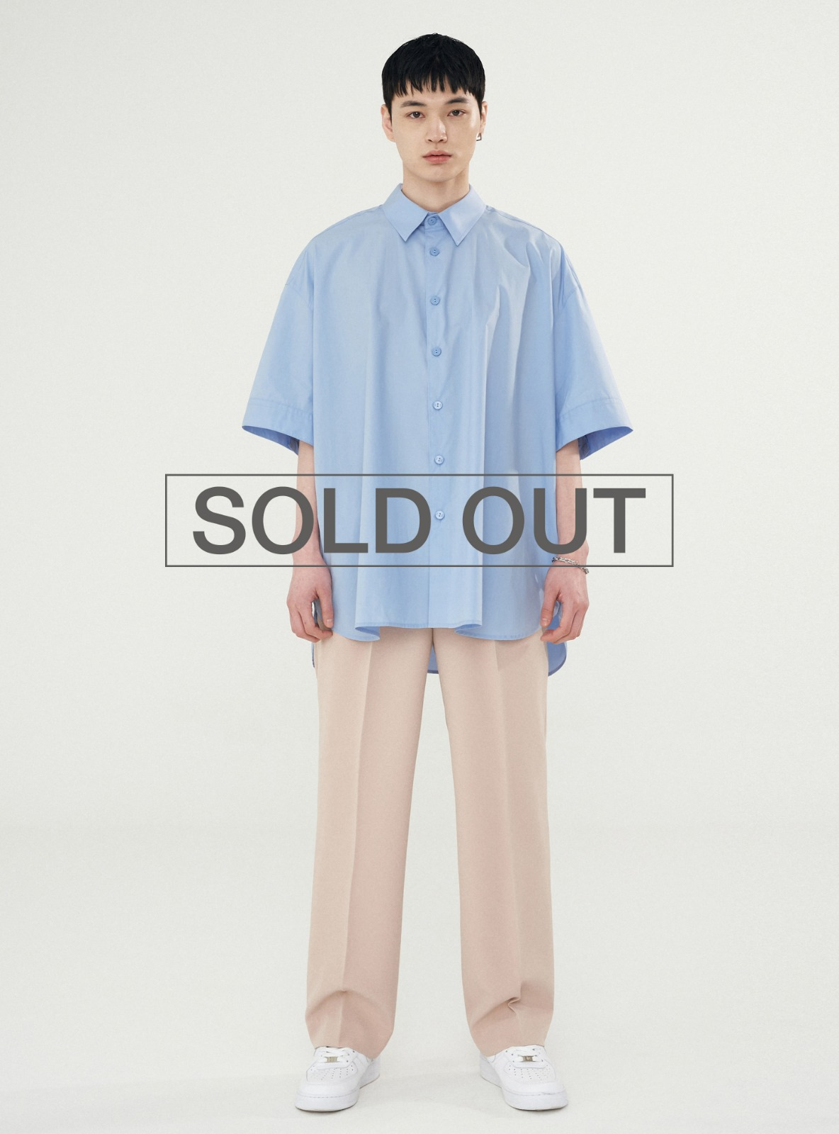 BACK PLEATS SHIRT POWDER BLUE