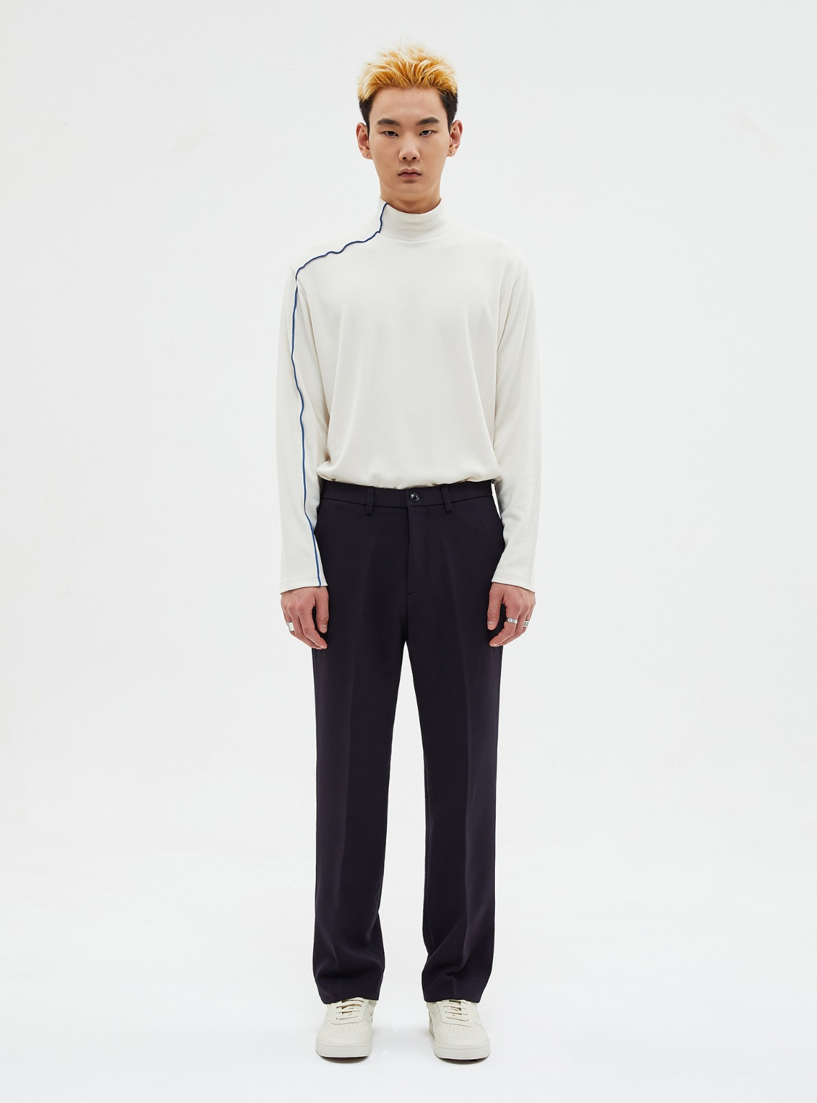 자체브랜드 - LONG WIDE SLACKS DARK NAVY_FW
