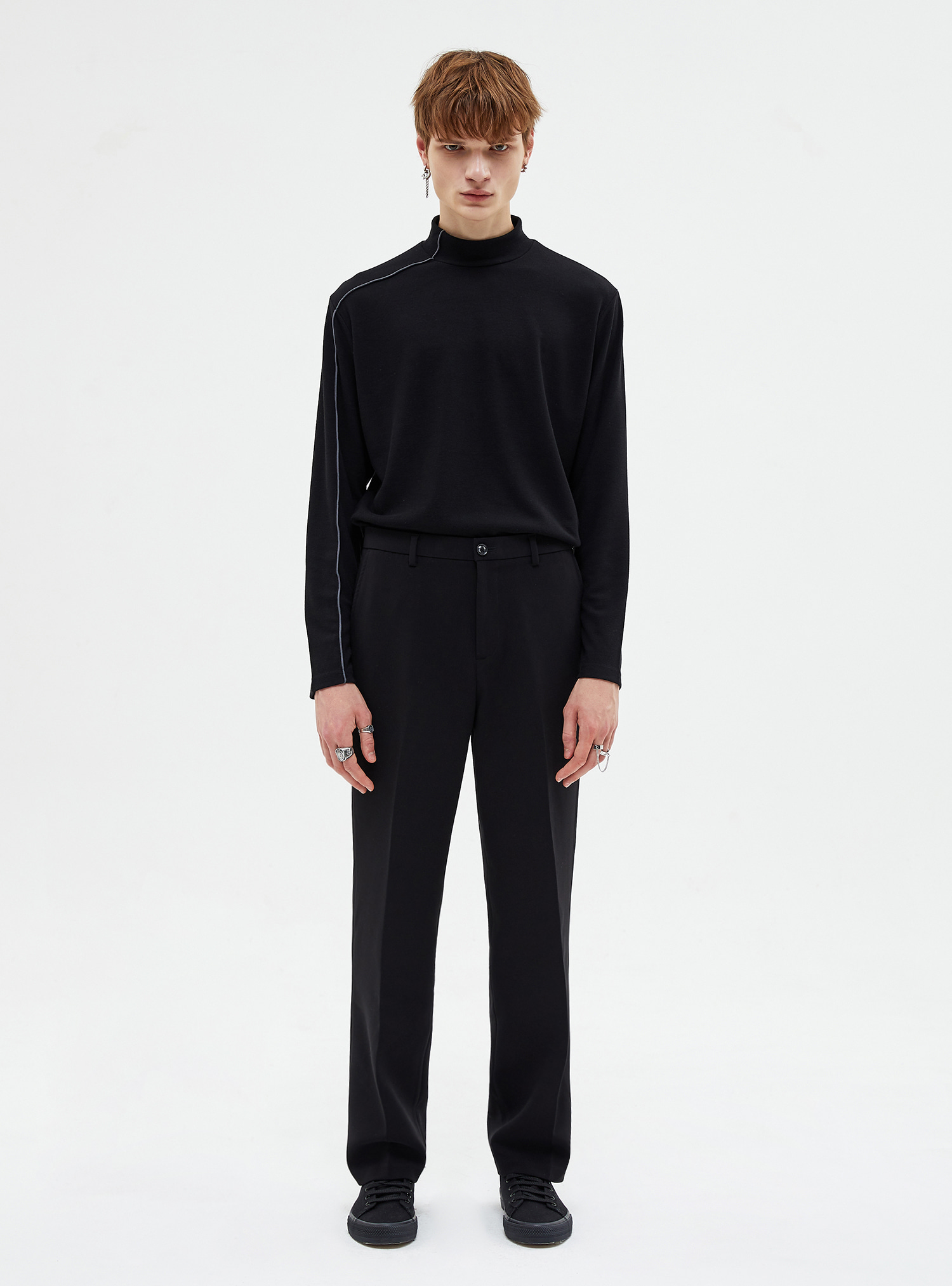 자체브랜드 - LONG WIDE SLACKS BLACK_FW