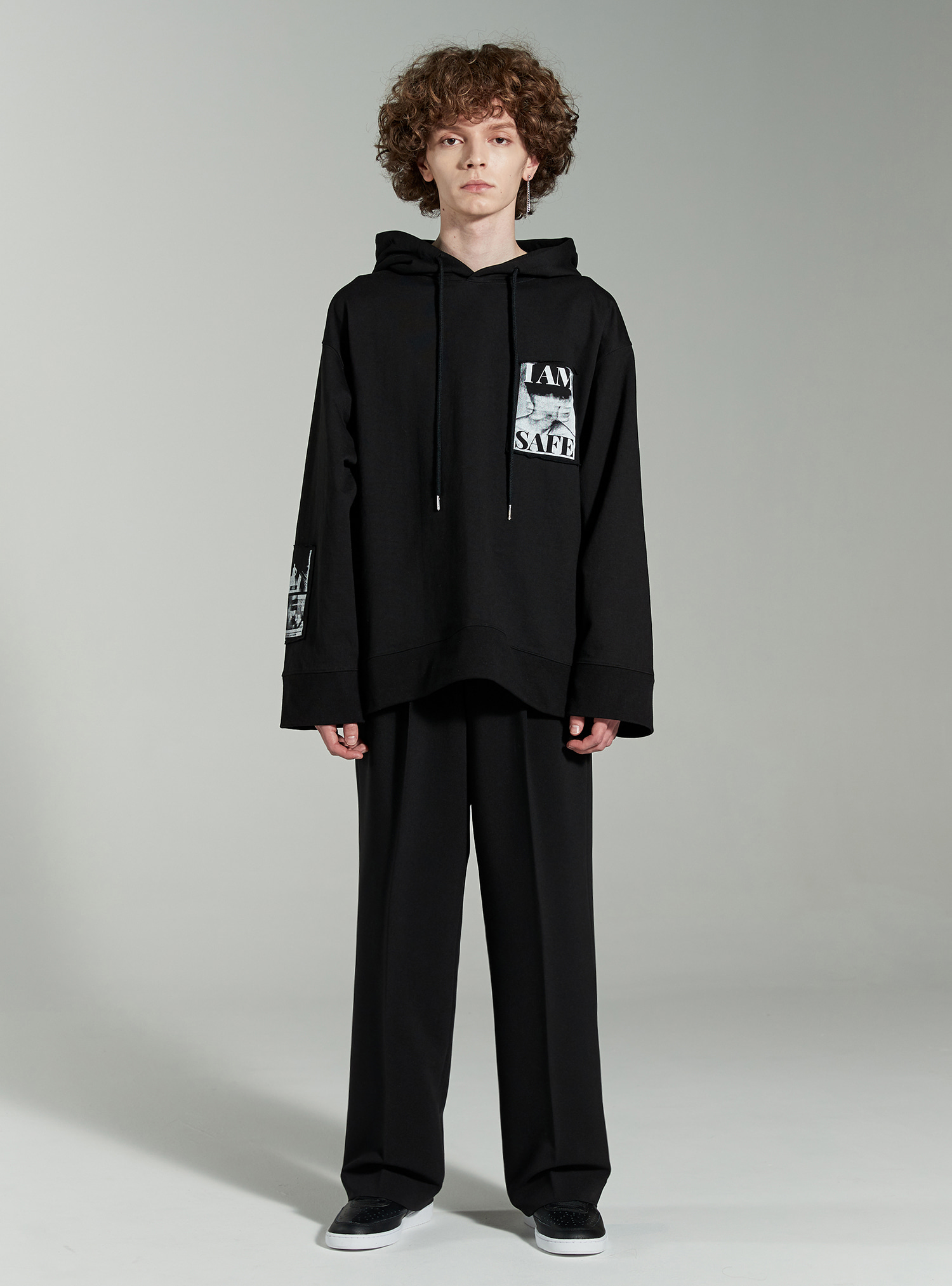 자체브랜드 - I AM SAFE PATCH AVANTGARDE HOODIE BLACK
