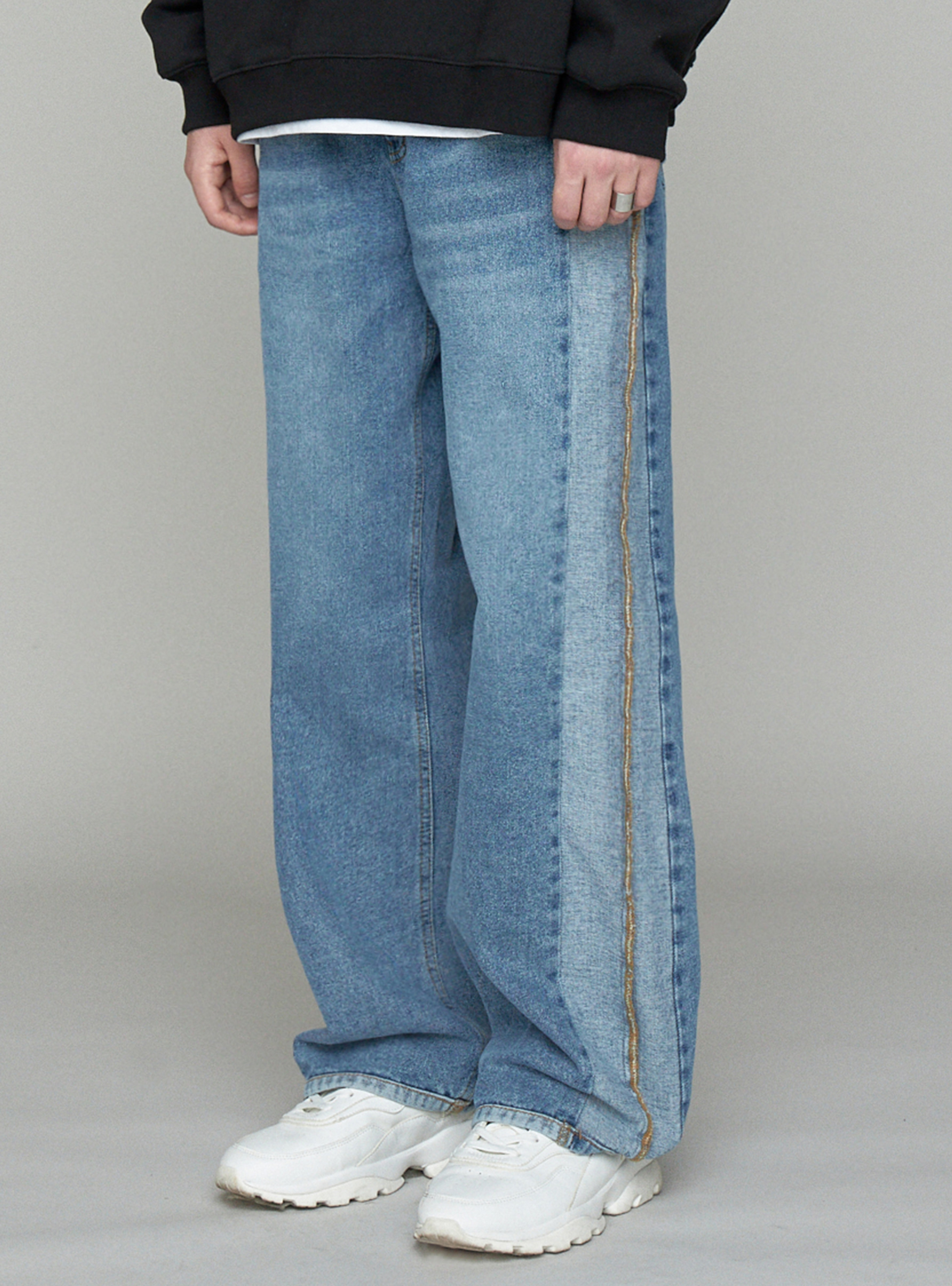 UGLY LONG WIDE DENIM BLUE