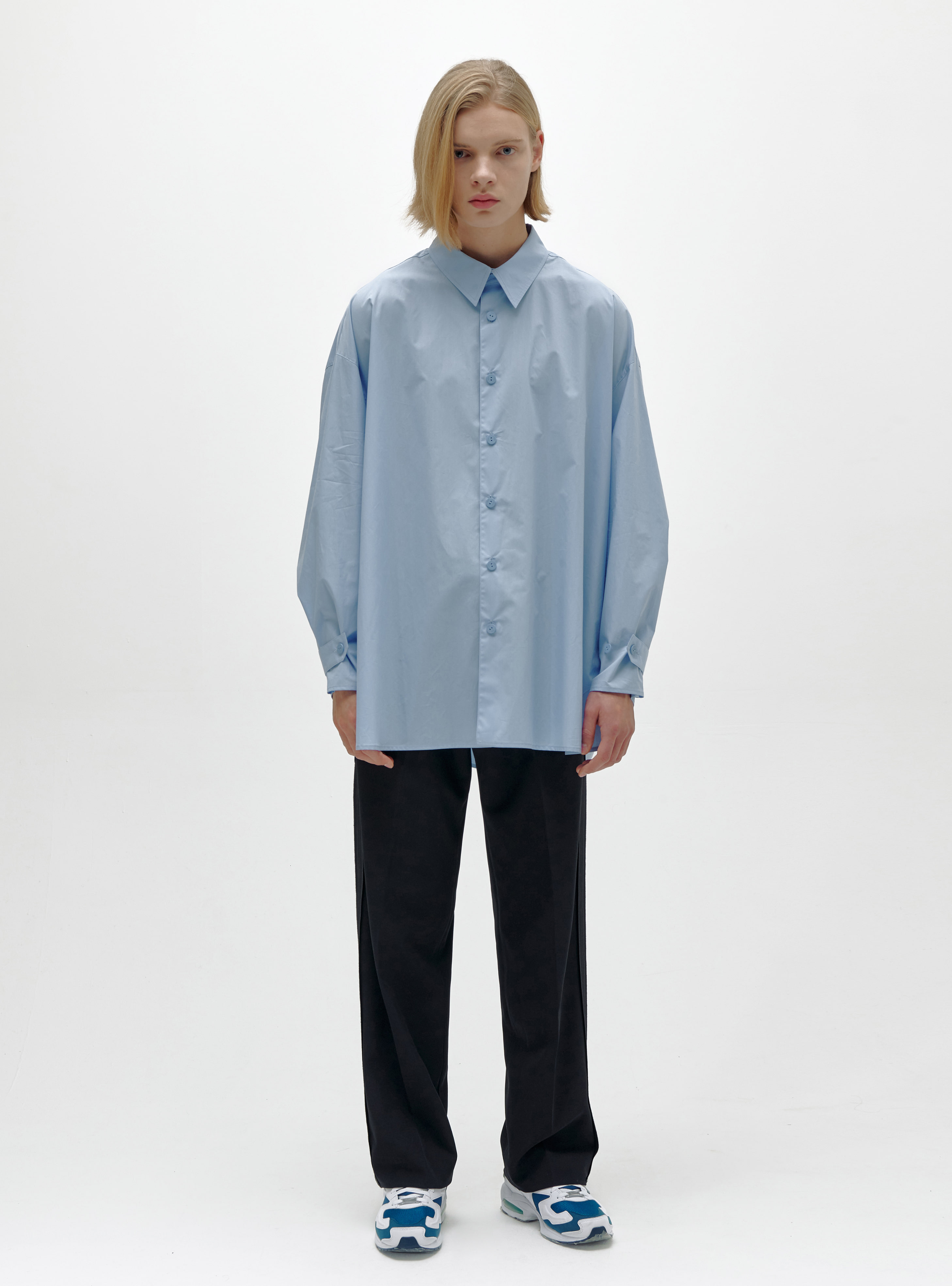 STRAP CUFF SHIRT POWDER BLUE