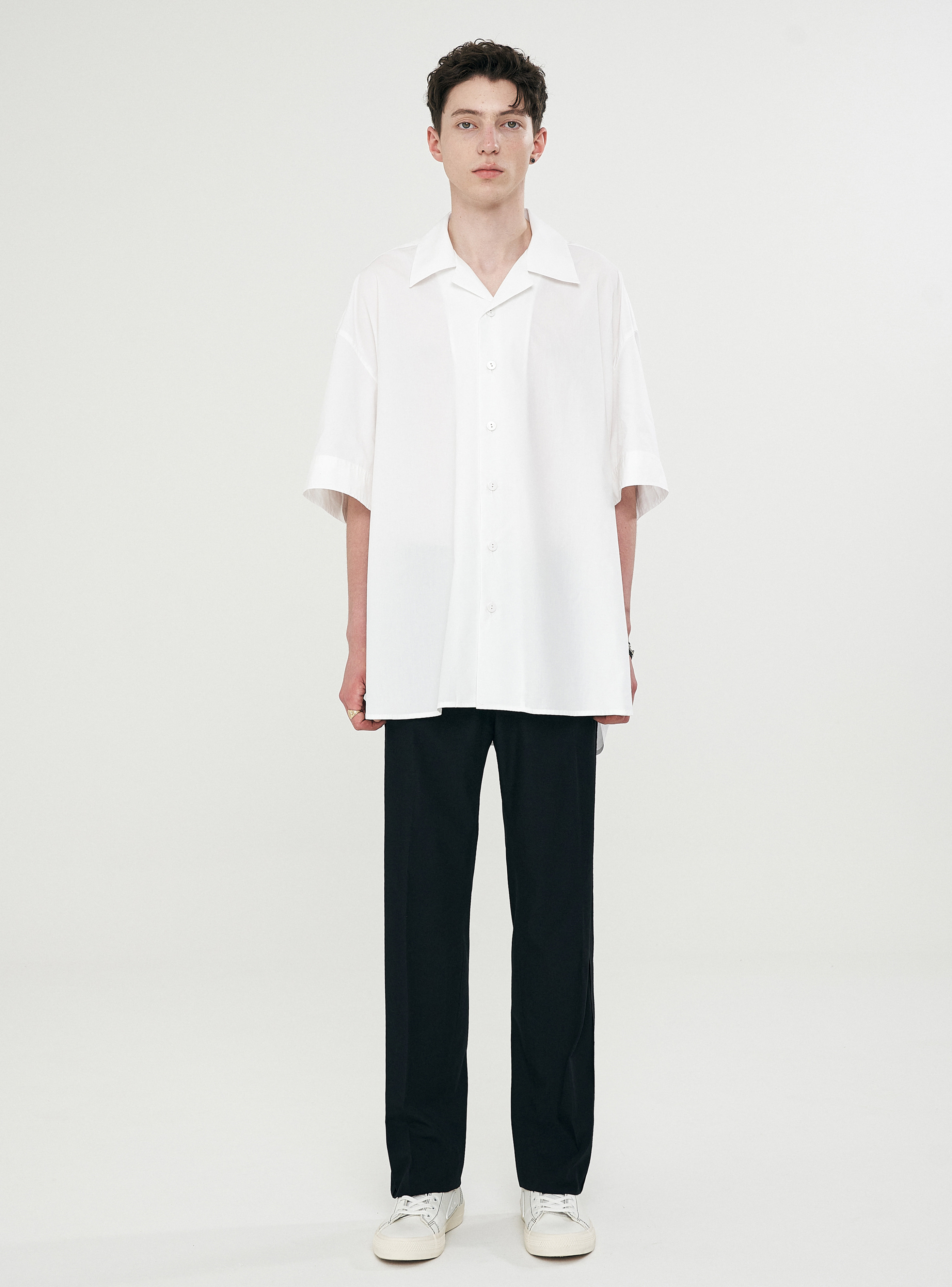 OPEN COLLAR AVANTGARDE SHIRT WHITE