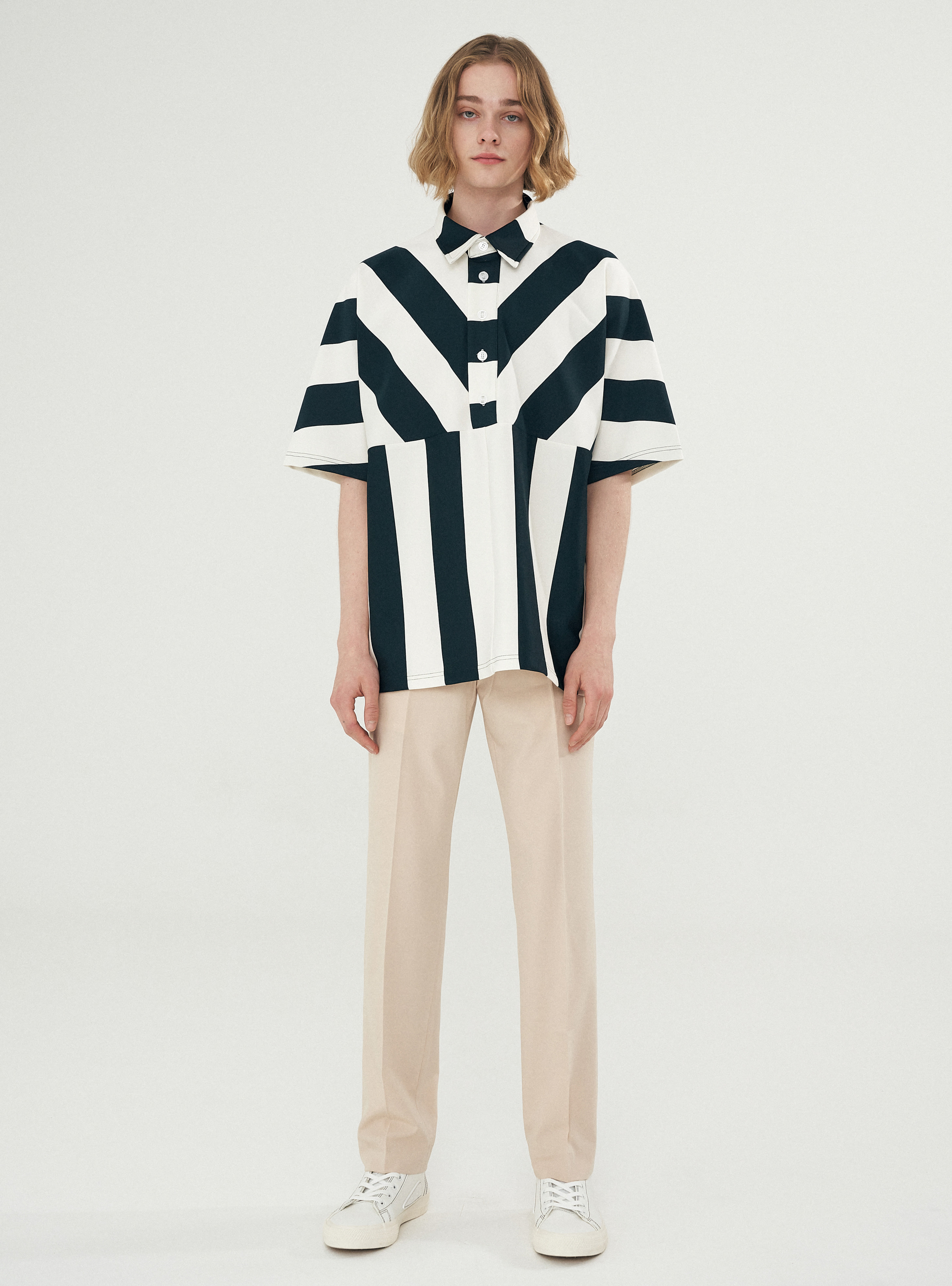 BOLD STRIPE BOX PATTERN PIQUE TEE GREEN