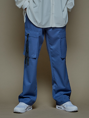 CARGO TAPING WIDE SLACKS BLUE