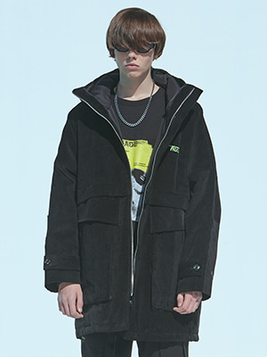 CORDUROY THINSULATE PARKA COAT BLACK