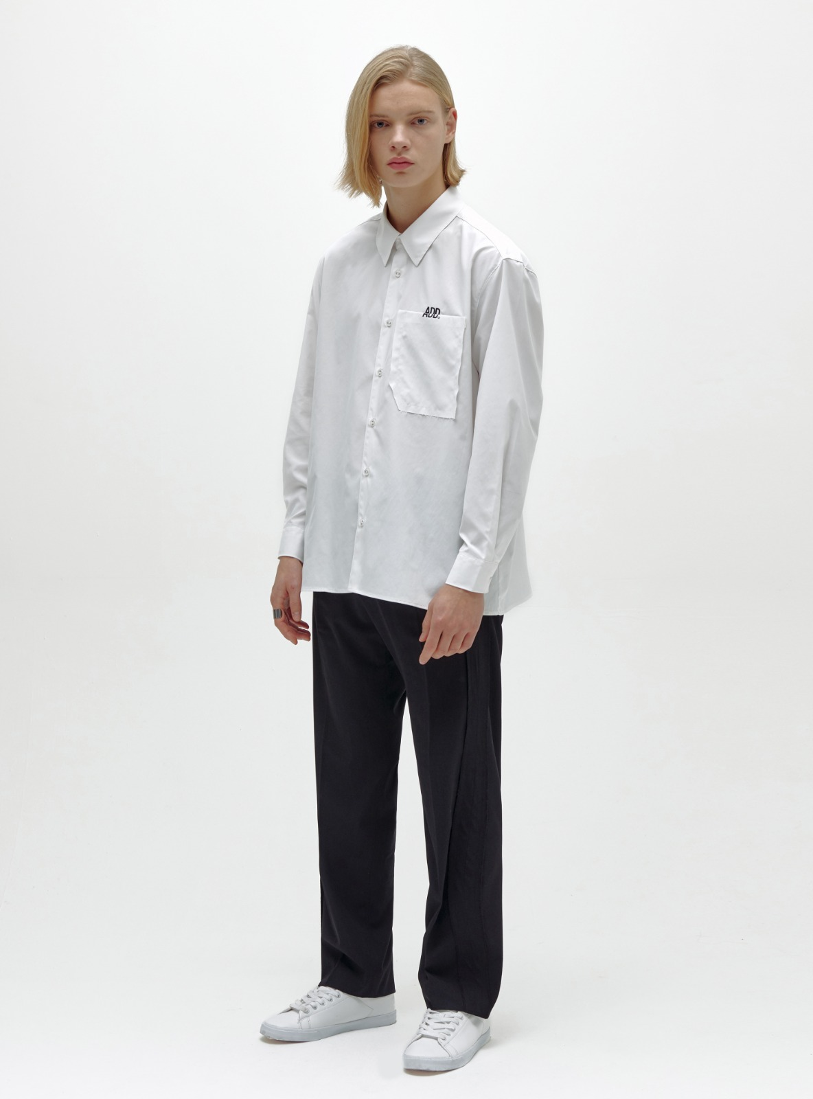 RAW EDGE POCKET SHIRT WHITE