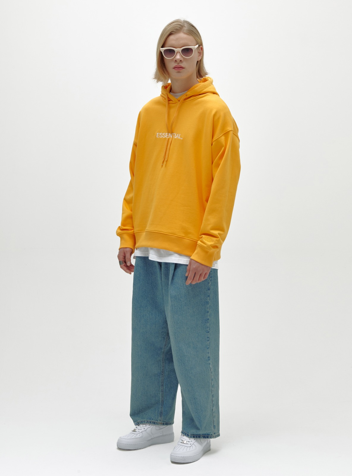 ESSENTIAL LOGO HOODIE YELLOW ORANGE