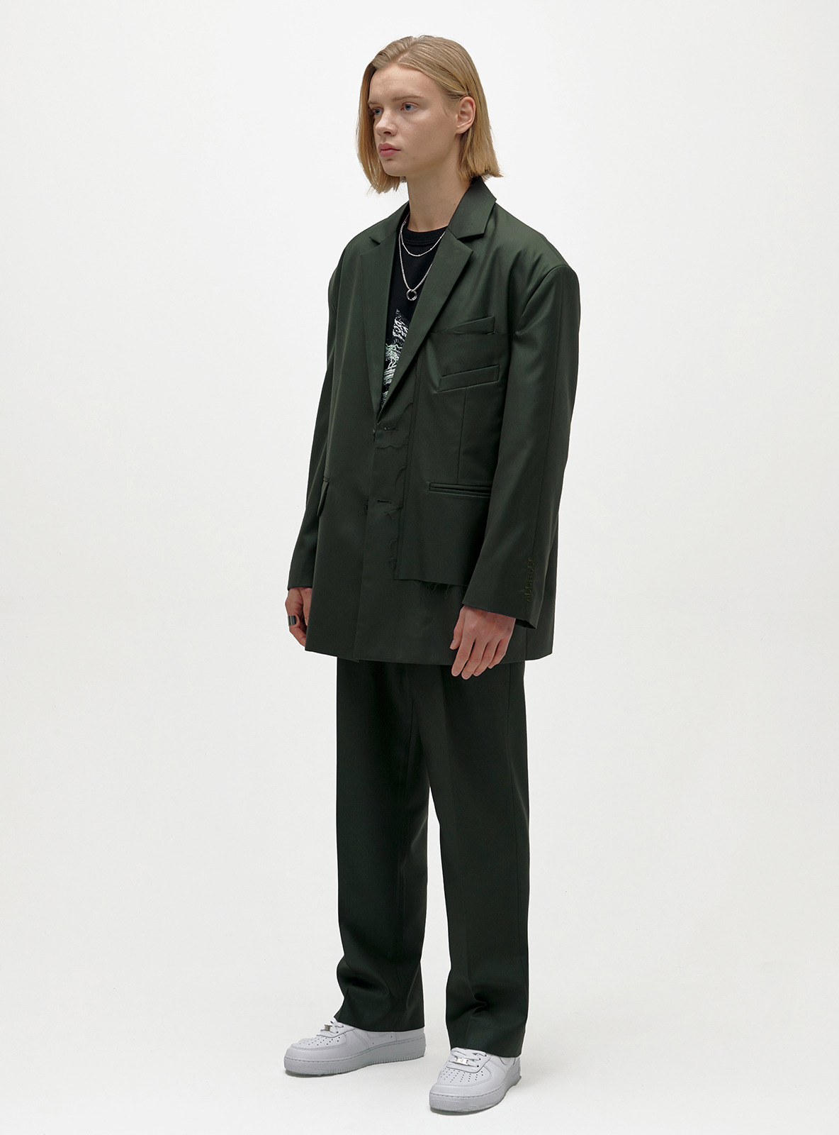 SUPER WIDE SET-UP SLACKS DEEP GREEN