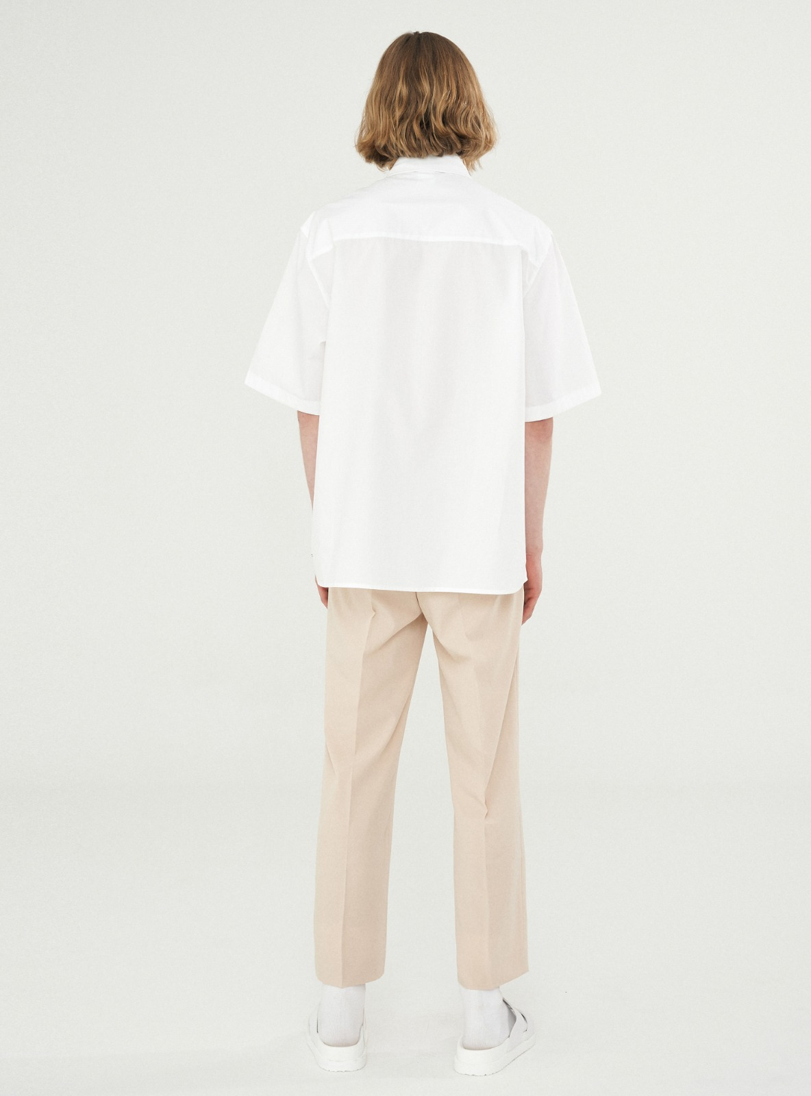 FOLDED PLACKET SHORT SLEEVE SHIRT WHITE