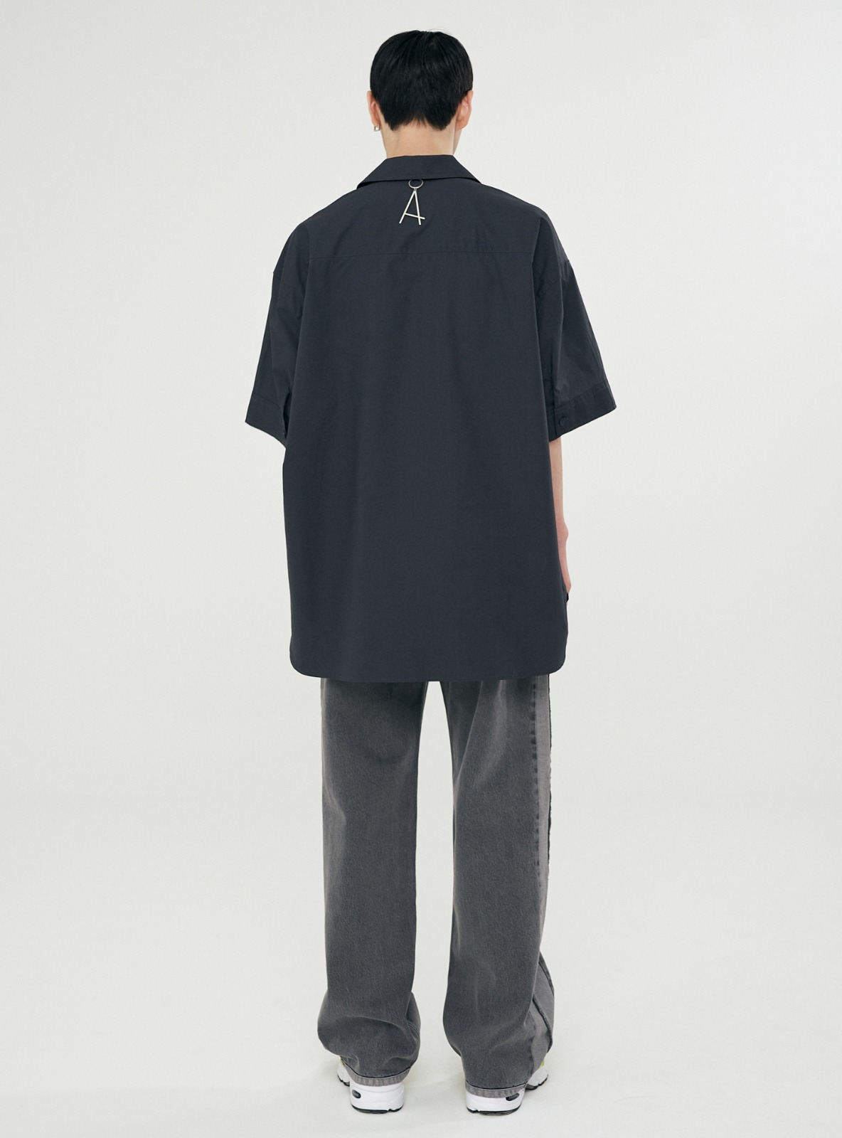 OPEN COLLAR AVANTGARDE SHIRT CHARCOAL
