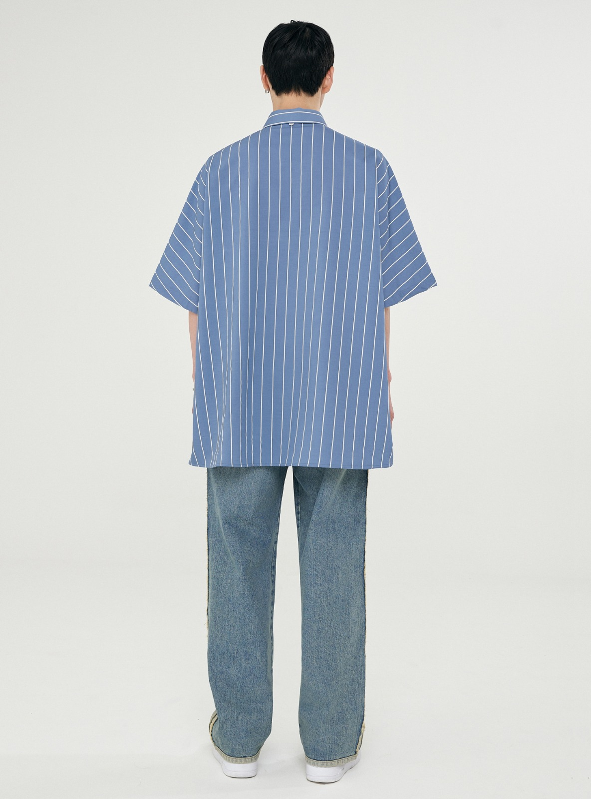 BOX PATTERN STRIPED SHIRT BLUE